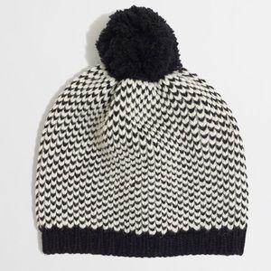 J. Crew Black and White Chevron Dot Beanie Hat